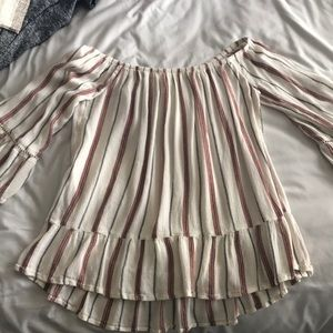 Off the shoulder striped shirt with sleeve detail